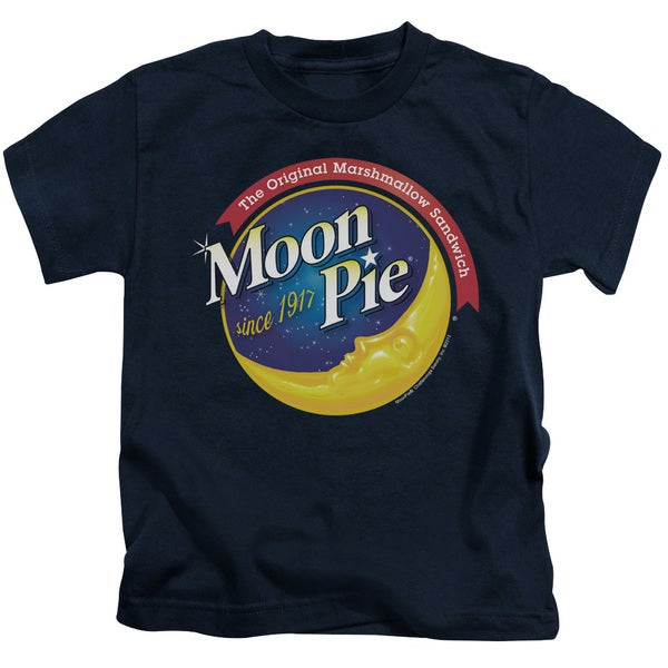 Moon Pie/Current Logo Short Sleeve Juvenile Graphic T-Shirt in Navy