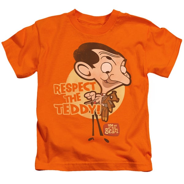 Mr Bean/Respect The Teddy Short Sleeve Juvenile Graphic T-Shirt in Orange