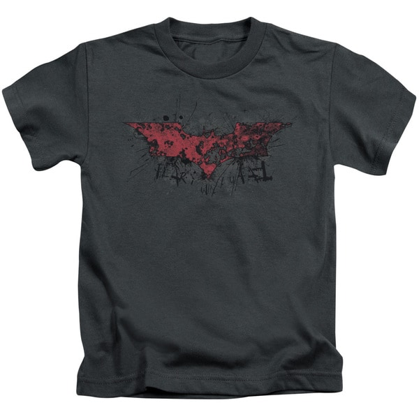 Dark Knight Rises/Fear Logo Short Sleeve Juvenile Graphic T-Shirt in Charcoal