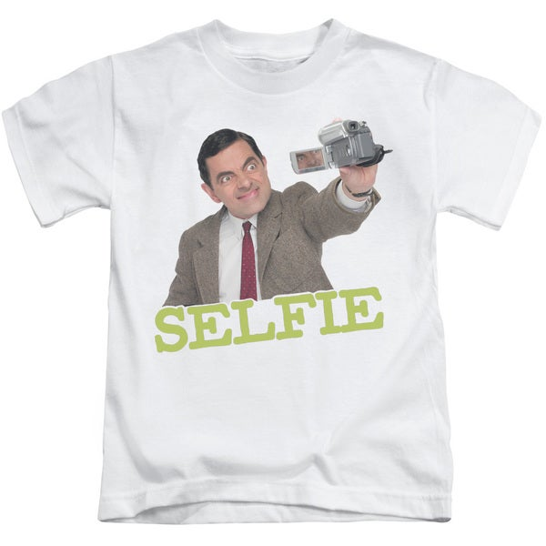 Mr Bean/Selfie Short Sleeve Juvenile Graphic T-Shirt in White