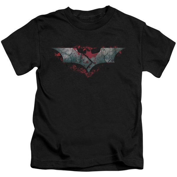 Dark Knight Rises/Split & Crack Logo Short Sleeve Juvenile Graphic T-Shirt in Black