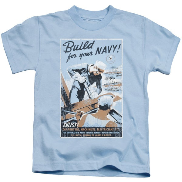 Navy/Build Your Navy Short Sleeve Juvenile Graphic T-Shirt in Light Blue