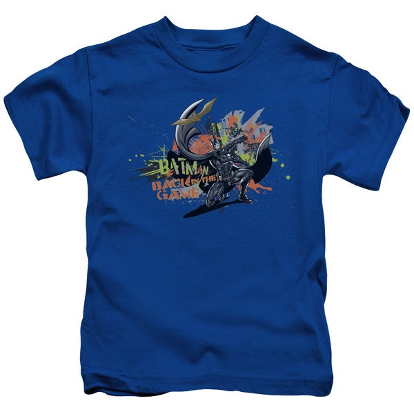 Dark Knight Rises/Back in The Game Short Sleeve Juvenile Graphic T-Shirt in Royal