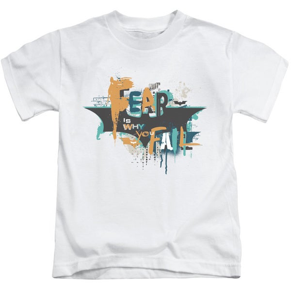 Dark Knight Rises/No Fear Short Sleeve Juvenile Graphic T-Shirt in White