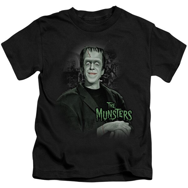 The Munsters/Man Of The House Short Sleeve Juvenile Graphic T-Shirt in Black