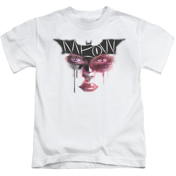 Dark Knight Rises/Meow Short Sleeve Juvenile Graphic T-Shirt in White