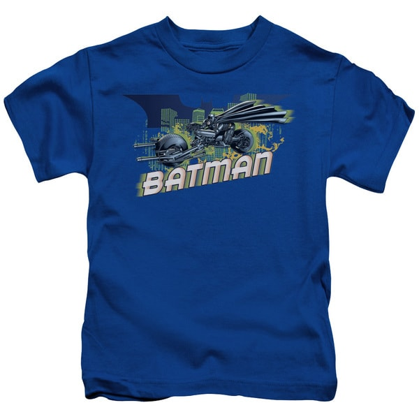 Dark Knight Rises/Wheels On Fire Short Sleeve Juvenile Graphic T-Shirt in Royal