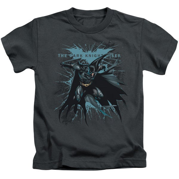 Dark Knight Rises/Blue Crackle Short Sleeve Juvenile Graphic T-Shirt in Charcoal