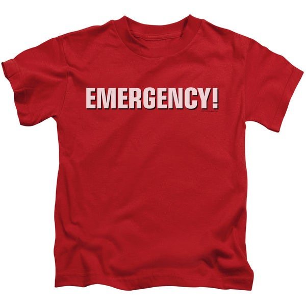 Emergency/Logo Short Sleeve Juvenile Graphic T-Shirt in Red