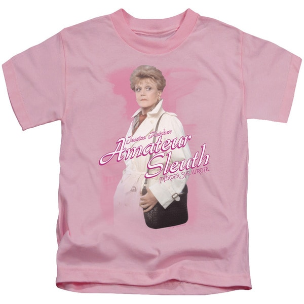 Murder She Wrote/Amateur Sleuth Short Sleeve Juvenile Graphic T-Shirt in Pink
