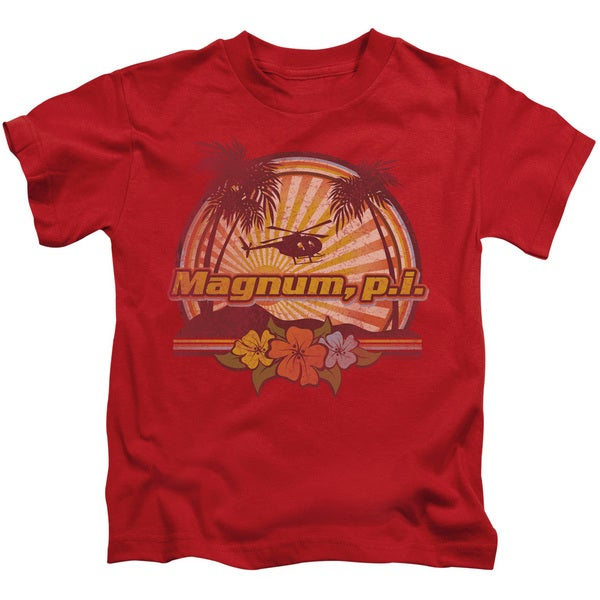 Magnum Pi/Hawaiian Sunset Short Sleeve Juvenile Graphic T-Shirt in Red