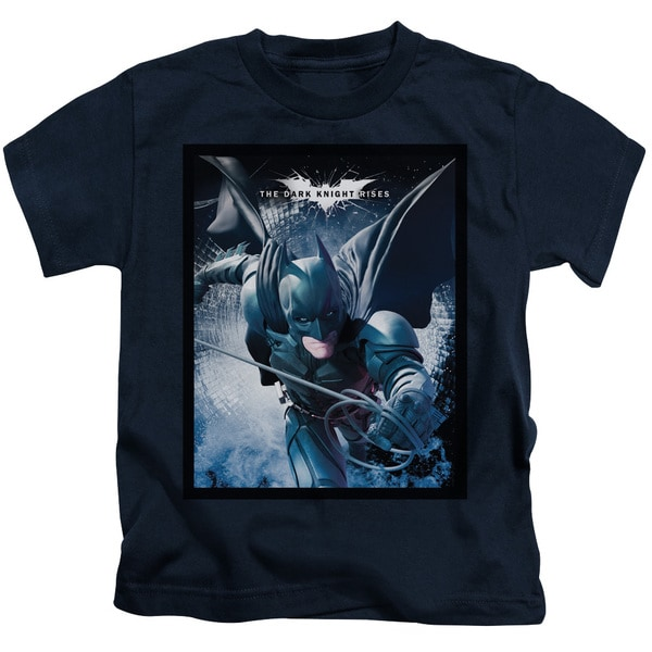 Dark Knight Rises/Swing Into Action Short Sleeve Juvenile Graphic T-Shirt in Navy
