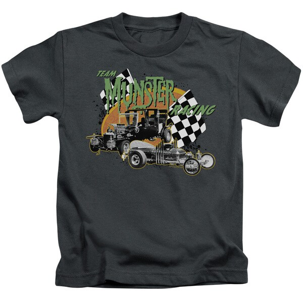 The Munsters/Team Munster Racing Short Sleeve Juvenile Graphic T-Shirt in Charcoal