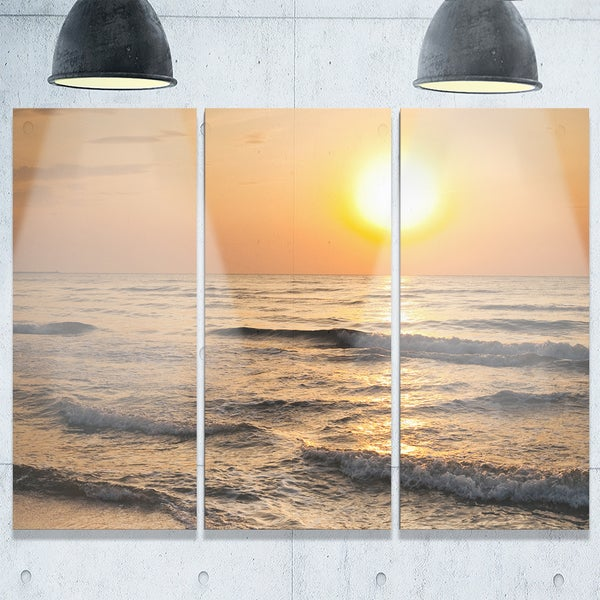 Typical Sunrise with Tranquil Waves - Seashore Metal Wall At - 36Wx28H