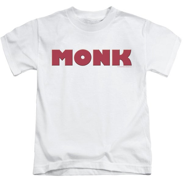 Monk/Logo Short Sleeve Juvenile Graphic T-Shirt in White