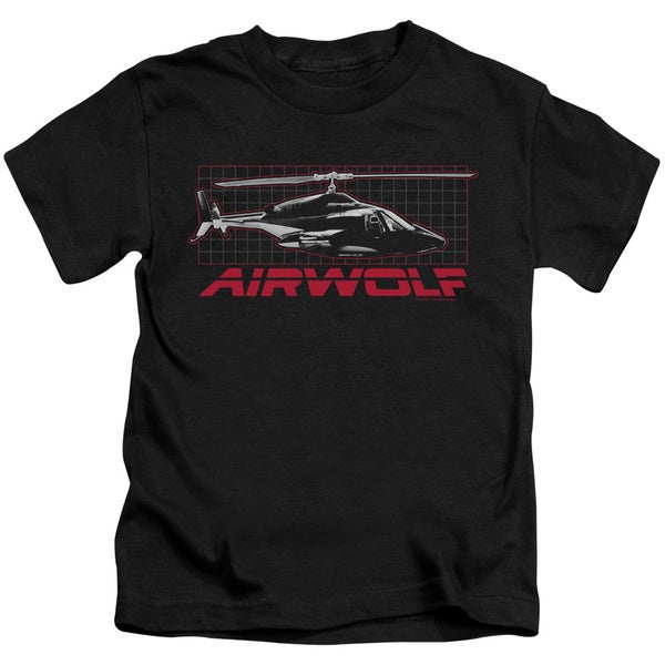 Airwolf/Grid Short Sleeve Juvenile Graphic T-Shirt in Black