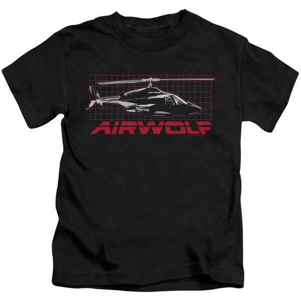 Airwolf/Grid Short Sleeve Juvenile Graphic T-Shirt in Black