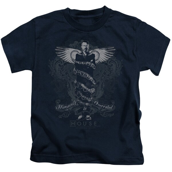 House/Humanity Is Overrated Short Sleeve Juvenile Graphic T-Shirt in Navy