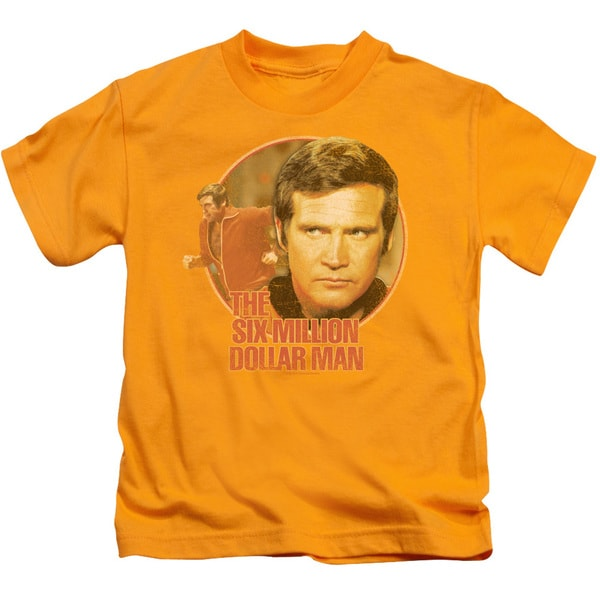 Six Million Dollar Man/Run Faster Short Sleeve Juvenile Graphic T-Shirt in Gold