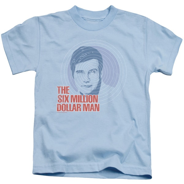 Six Million Dollar Man/I See You Short Sleeve Juvenile Graphic T-Shirt in Light Blue