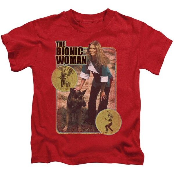 Bionic Woman/Jamie and Max Short Sleeve Juvenile Graphic T-Shirt in Red