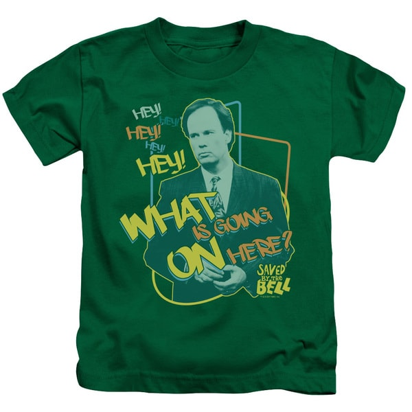 Saved By The Bell/Mr. Belding Short Sleeve Juvenile Graphic T-Shirt in Kelly Green