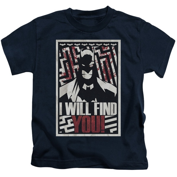Batman/I Will Fnd You Short Sleeve Juvenile Graphic T-Shirt in Navy