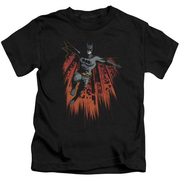 Batman/Majestic Short Sleeve Juvenile Graphic T-Shirt in Black