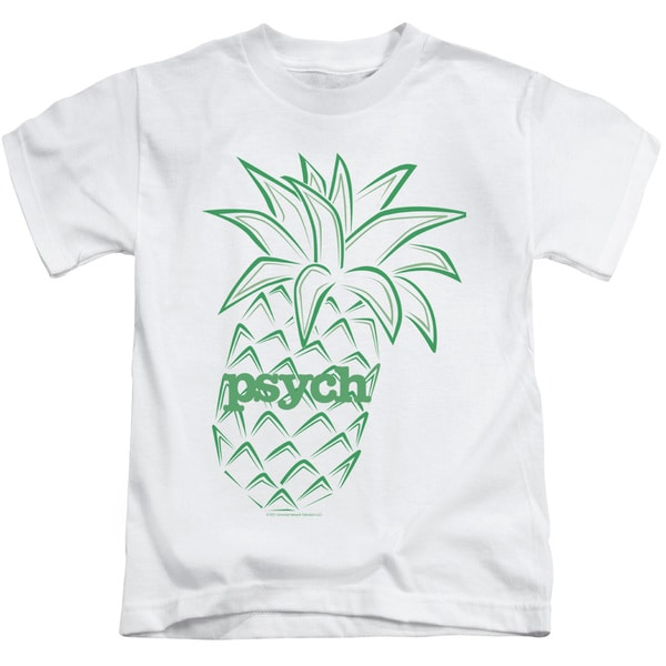 Psych/Pineapple Short Sleeve Juvenile Graphic T-Shirt in White