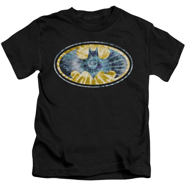 Batman/Tie Dye 3 Short Sleeve Juvenile Graphic T-Shirt in Black