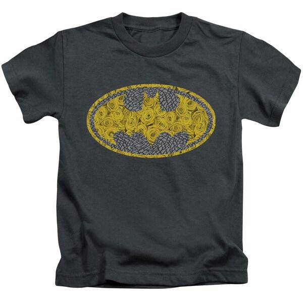 Batman/Elephant Rose Signal Short Sleeve Juvenile Graphic T-Shirt in Charcoal