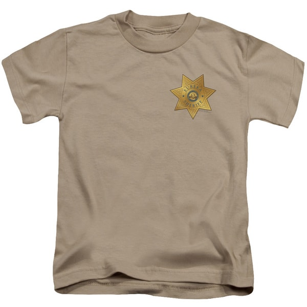 Eureka/Badge Short Sleeve Juvenile Graphic T-Shirt in Sand