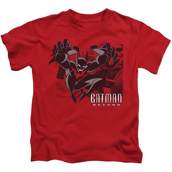 Batman Beyond/City Jump Short Sleeve Juvenile Graphic T-Shirt in Red