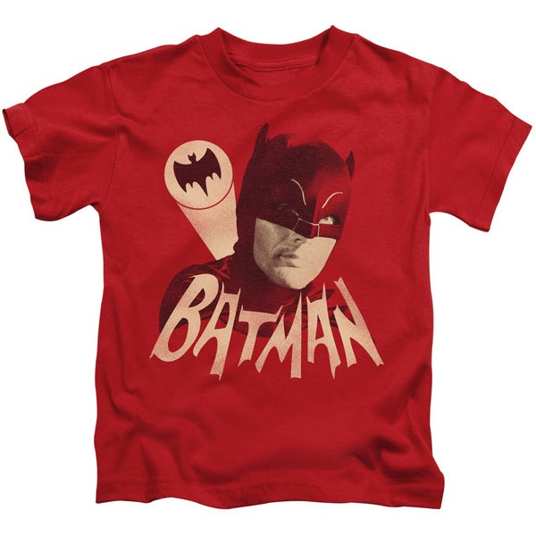 Batman Classic Tv/Bat Signal Short Sleeve Juvenile Graphic T-Shirt in Red