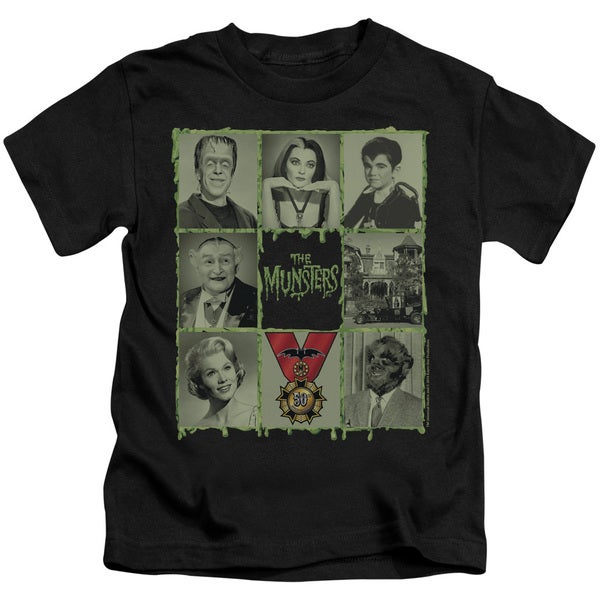 Munsters/Blocks Short Sleeve Juvenile Graphic T-Shirt in Black