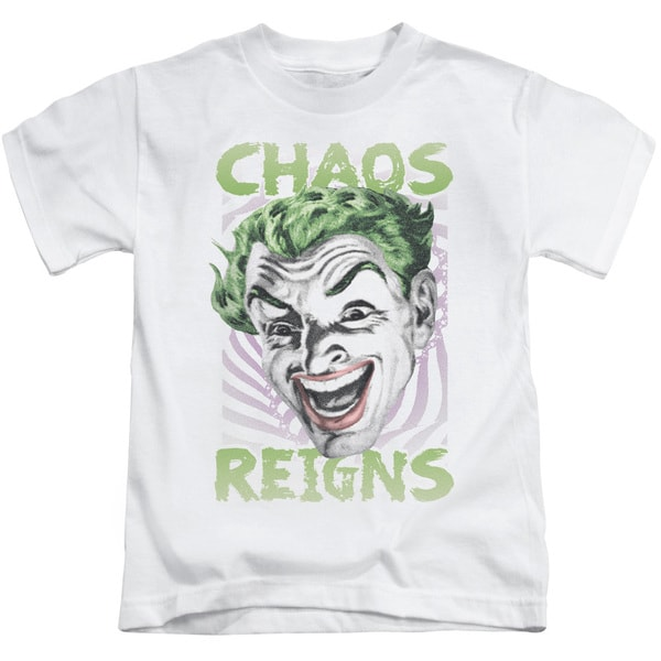 Batman Classic Tv/Chaos Reigns Short Sleeve Juvenile Graphic T-Shirt in White
