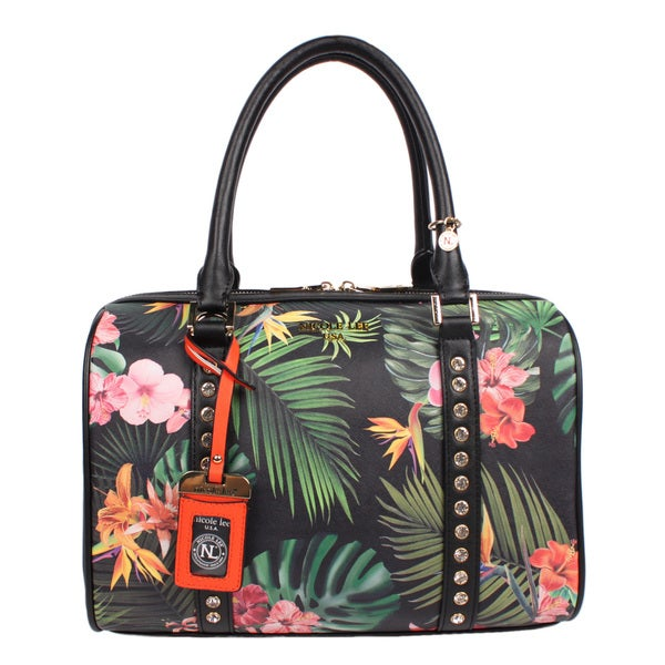 Nicole Lee Boston Black Tropical Floral Handbag