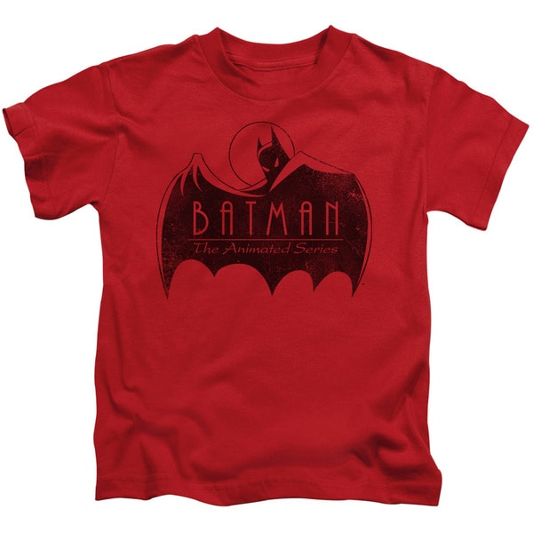 Batman The Animated Series/One Color Logo Short Sleeve Juvenile Graphic T-Shirt in Red