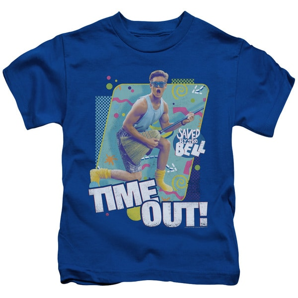 Saved By The Bell/Time Out Short Sleeve Juvenile Graphic T-Shirt in Royal Blue