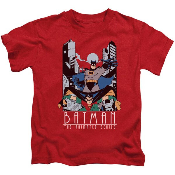 Batman The Animated Series/Batman and Robin Short Sleeve Juvenile Graphic T-Shirt in Red