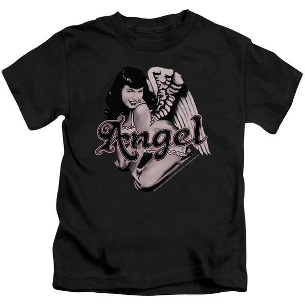 Bettie Page/Bettie Angel Short Sleeve Juvenile Graphic T-Shirt in Black