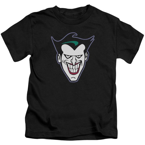 Batman The Animated Series/Joker Face Short Sleeve Juvenile Graphic T-Shirt in Black