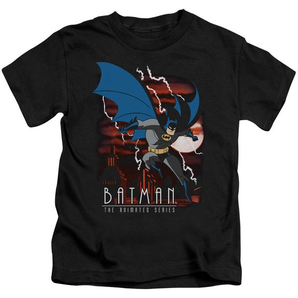 Batman The Animated Series/Lightning Strikes Short Sleeve Juvenile Graphic T-Shirt in Black