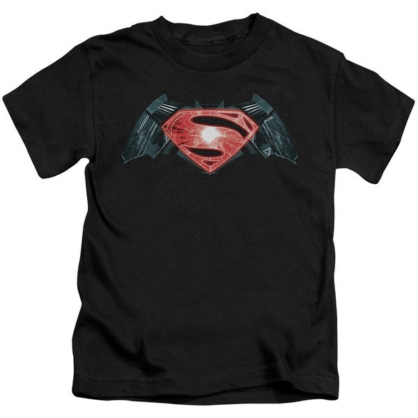 Batman V Superman/Industrial Logo Short Sleeve Juvenile Graphic T-Shirt in Black