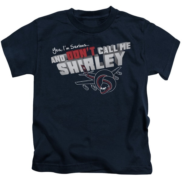 Airplane/Dont Call Me Shirley Short Sleeve Juvenile Graphic T-Shirt in Navy