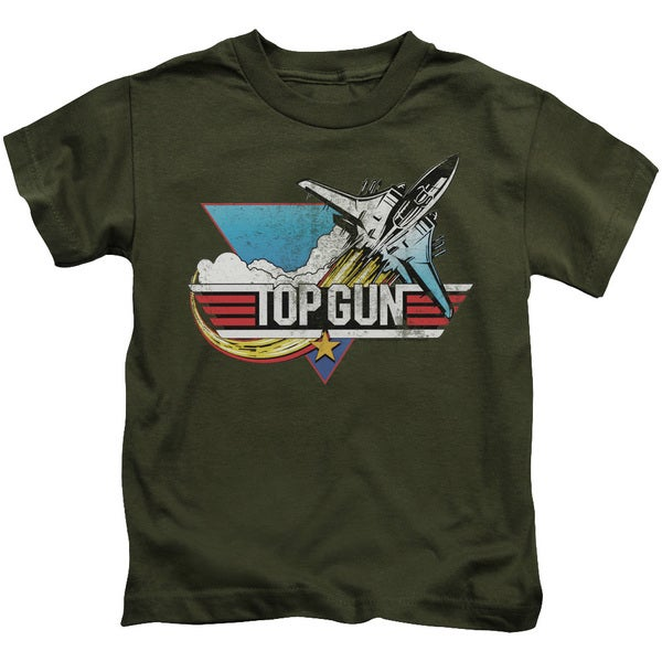 Top Gun/Distressed Logo Short Sleeve Juvenile Graphic T-Shirt in Military Green