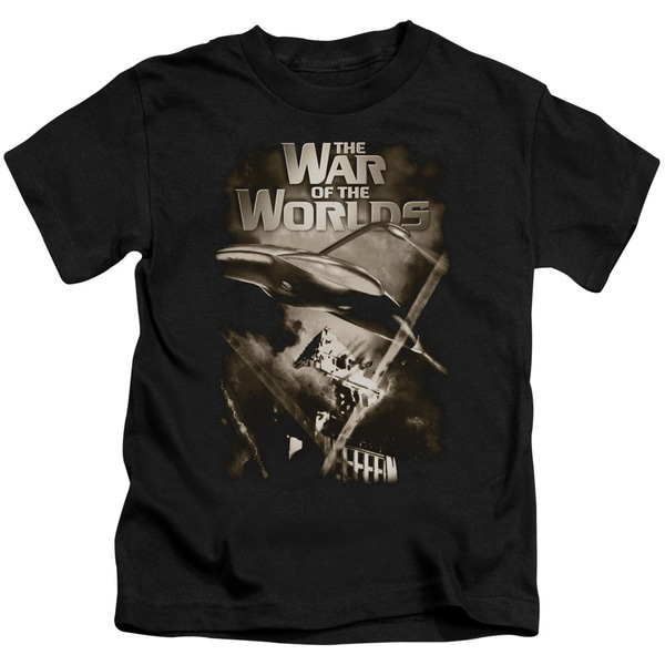 War Of The Worlds/Death Rays Short Sleeve Juvenile Graphic T-Shirt in Black