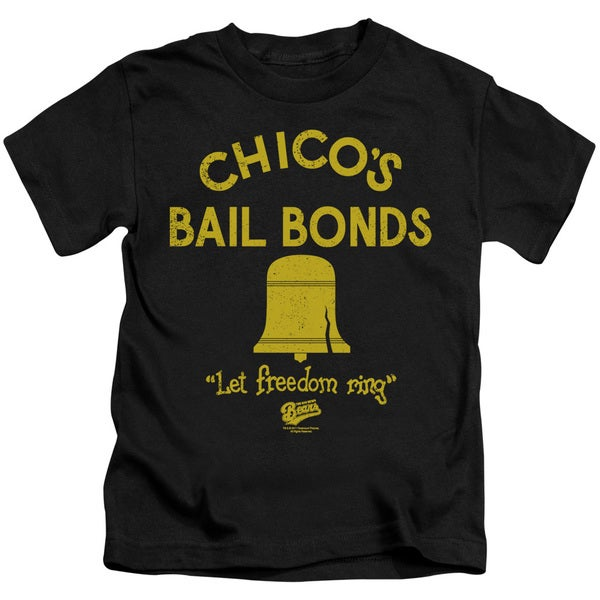 Bad News Bears/Chico's Bail Bonds Short Sleeve Juvenile Graphic T-Shirt in Black