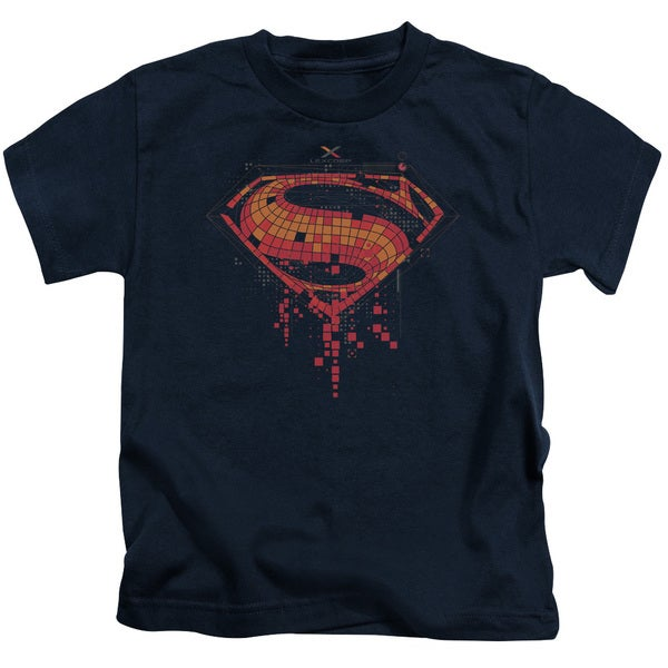 Batman V Superman/Tech Super Logo Short Sleeve Juvenile Graphic T-Shirt in Navy
