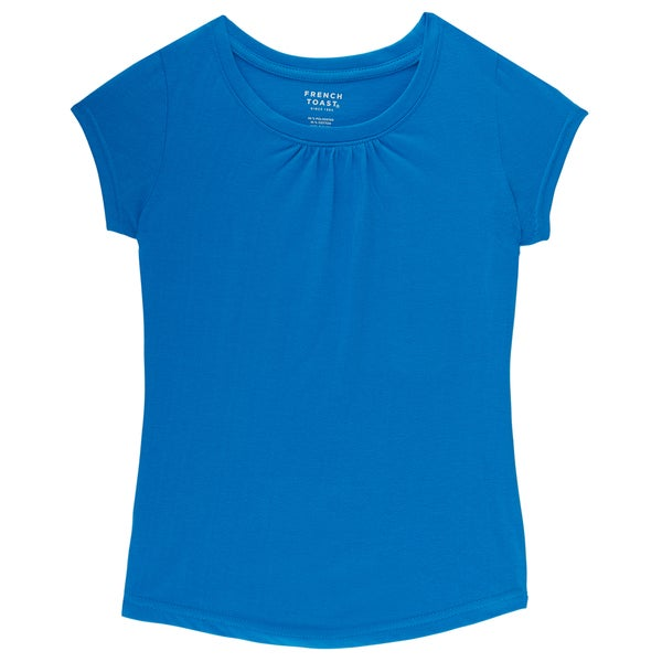 French Toast Girl's Blue Cotton and Polyester Short-sleeve Crew Neck T-shirt